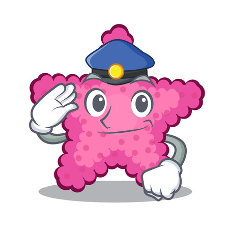 Police pink starfish isolated with the cartoon vector illustration