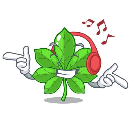 Listening music horse chestnuts in the mascot stem vector illustration