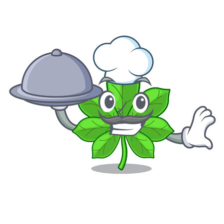 Chef with food horse chestnuts in the mascot stem vector illustration