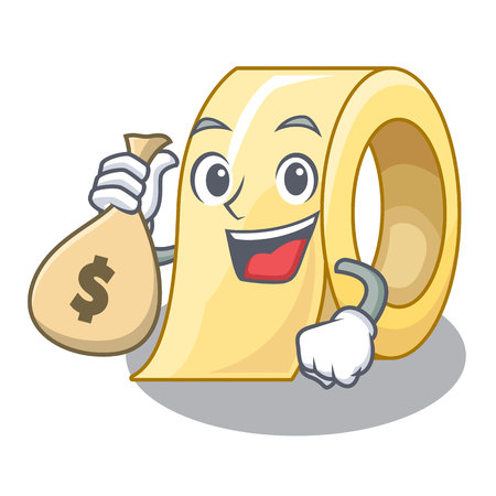 With money bag masking tape in the shape characters vector illustration