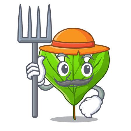 Farmer sassafras leaf isolated in the character vecttor illustration