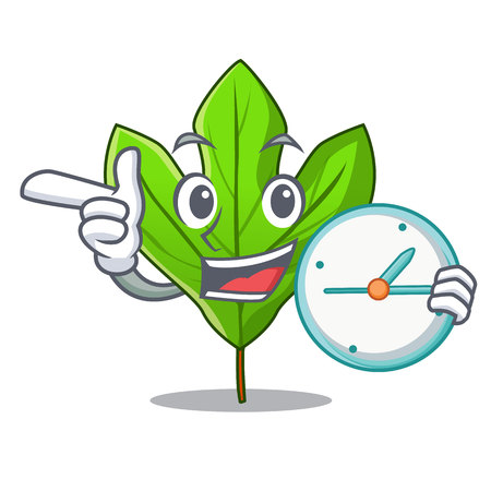 With clock sassafras leaf in the cartoon stem vector illustration
