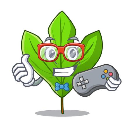 Gamer sassafras leaf in the mascot pots vector illustration