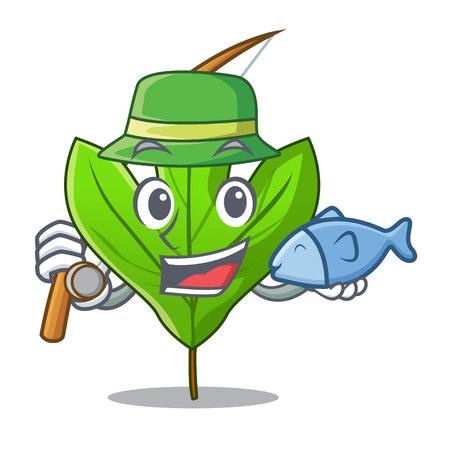 Fishing sassafras leaf in the mascot pots vector illustration