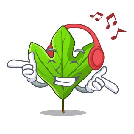 Listening music sassafras leaf in the mascot pots vector illustration  イラスト・ベクター素材