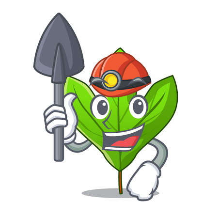 Miner sassafras leaf in the mascot pots vector illustration
