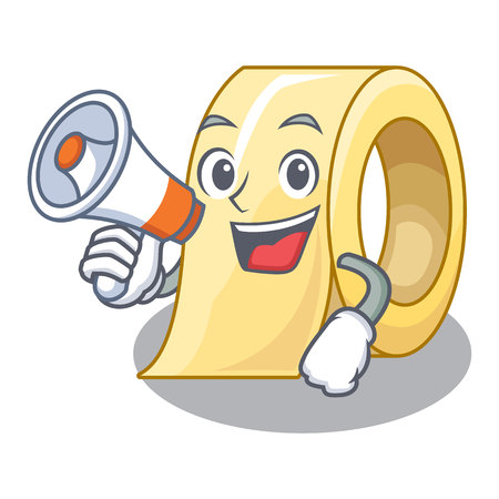 With megaphone masking tape in the shape characters vector illustration