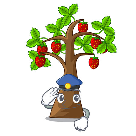 Police strawberry tree in the shape character vector illustration