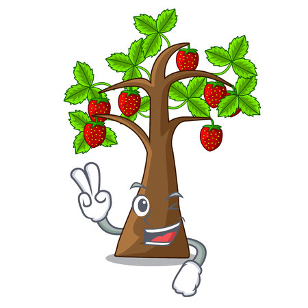 Two finger strawberry tree in the mascot pots vector illustration