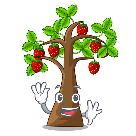 Waving strawberry tree in the mascot pots vector illustration Vektorové ilustrace