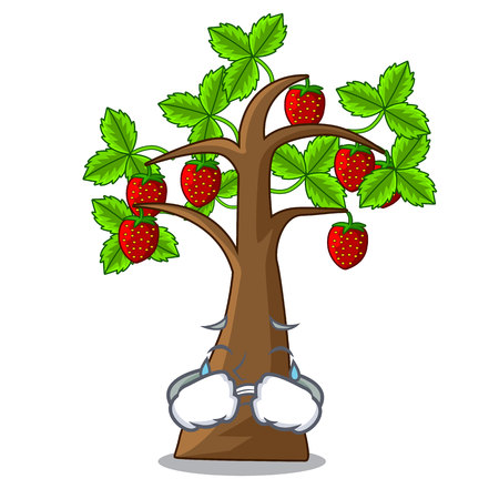 Crying cartoon strawberry trees grow on soil vector illustration
