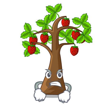 Wütende Cartoon-Erdbeerbäume wachsen auf Bodenvektorillustration