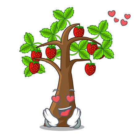 In love cartoon strawberry trees grow on soil vector illustration