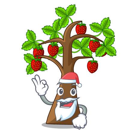 Santa Erdbeerbaum isoliert mit der Cartoon-Vektor-Illustration Vektorgrafik