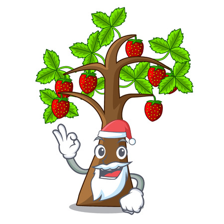 Santa strawberry tree isolated with the cartoon vector illustration Ilustração Vetorial