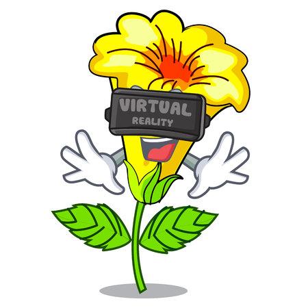 Virtual reality allamanda flowers in a cartoon pots vector illustration
