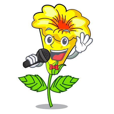 Singing allamanda flowers in a cartoon pots vector illustration