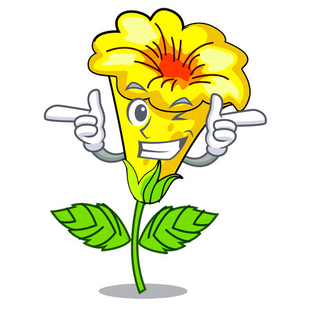 Wink allamanda flowers stick to character stem vector illustration