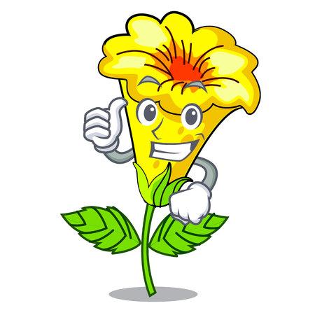 Thumbs up allamanda flowers stick to character stem vector illustration Stock Illustratie