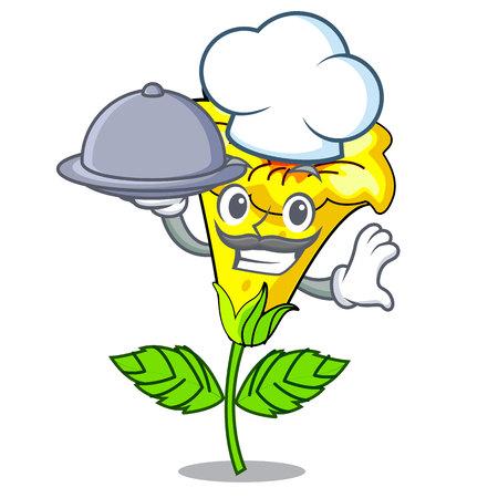 Chef with food allamanda flowers in a cartoon pots vector illustration