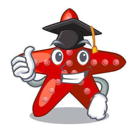 Graduation red starfish animal on mascot sand vector illustration