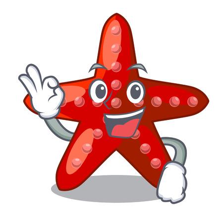 Okay red starfish animal on mascot sand vector illustration