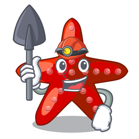Miner red starfish in the cartoon shape vector illustration Illustration