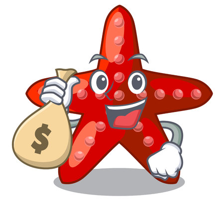 With money bag red starfish isolated with the character vector illustration Illustration
