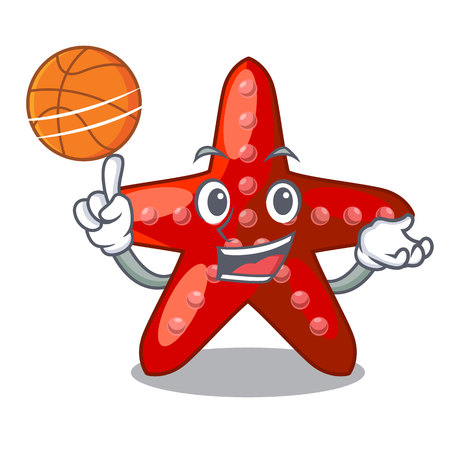 With basketball red starfish isolated with the character vector illustration Illustration