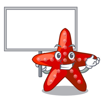 Bring board red starfish isolated with the character vector illustration Illustration