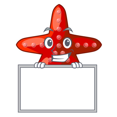 Grinning with board red starfish isolated with the character vector illustration