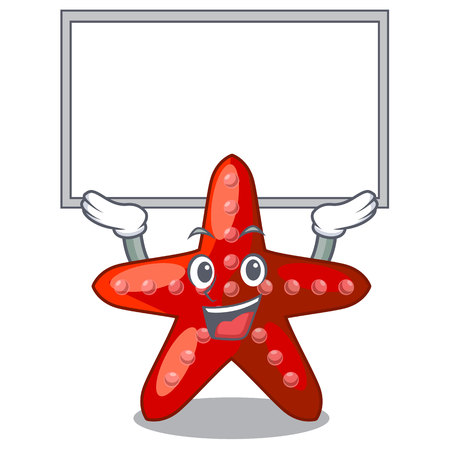 Up board red starfish isolated with the character vector illustration