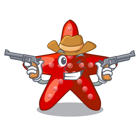Cowboy red starfish isolated with the character vector illustration