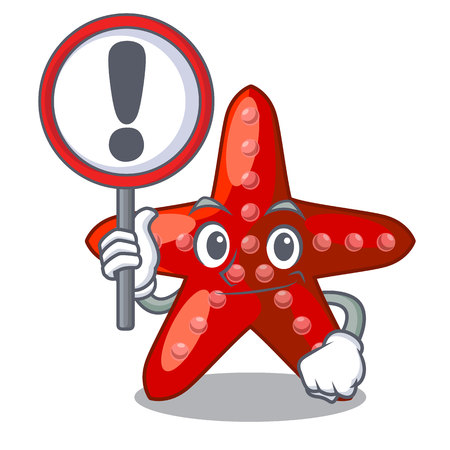 With sign red starfish isolated with the character vector illustration