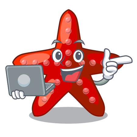 With laptop red starfish isolated with the character vector illustration Illustration
