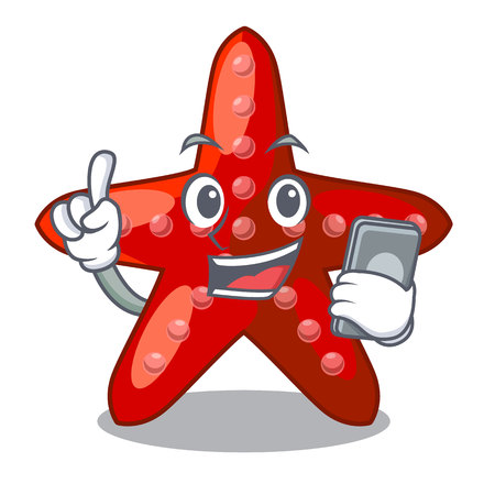 With phone red starfish isolated with the character vector illustration