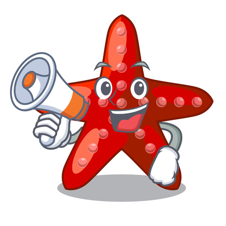 With megaphone red starfish isolated with the character vector illustration