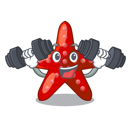 Fitness red starfish isolated with the character vector illustration