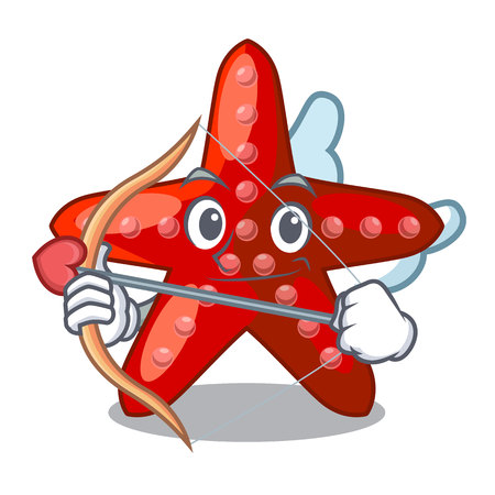 Cupid red starfish isolated with the character vector illustration 일러스트