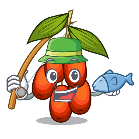 Fishing jujube fruit in the shape mascot vector illustration 向量圖像