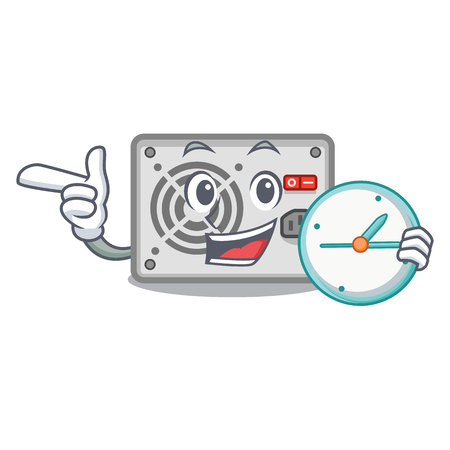 With clock power supply in the shape characters vector illustration