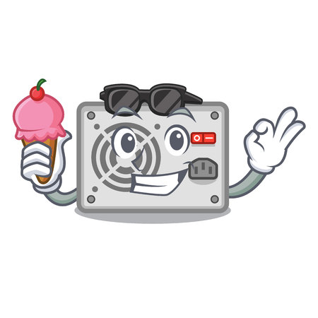 With ice cream power supply in the shape characters vector illustration