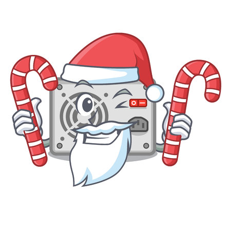 Santa with candy cartoon power supply on the computer vector illustration