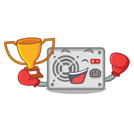 Boxing winner cartoon power supply on the computer vector illustration
