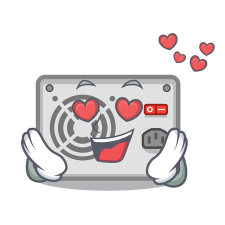 In love mascot power supply sticks to pc vector illustration
