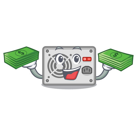 With money mascot power supply sticks to pc vector illustration