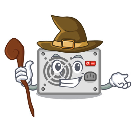 Witch mascot power supply sticks to pc vector illustration