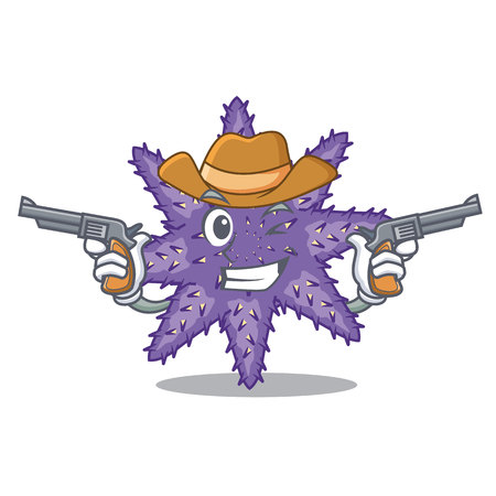 Cowboy purple starfish isolated with the mascot vector illustration