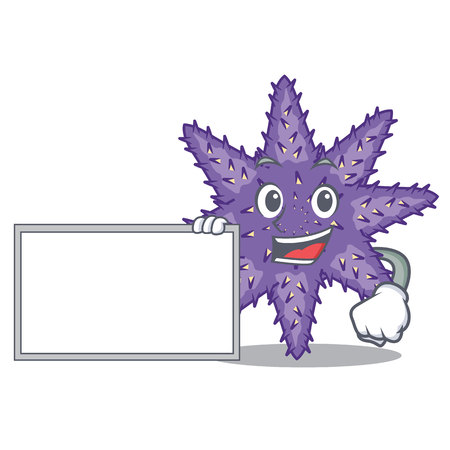With board purple starfish isolated with the mascot vector illustration