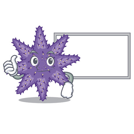 Thumbs up with board purple starfish isolated with the mascot vector illustration